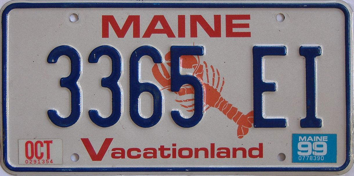 1999 Maine (Natural Single) license plate for sale