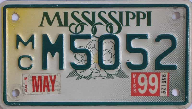 1999 Mississippi (Motorcycle) license plate for sale
