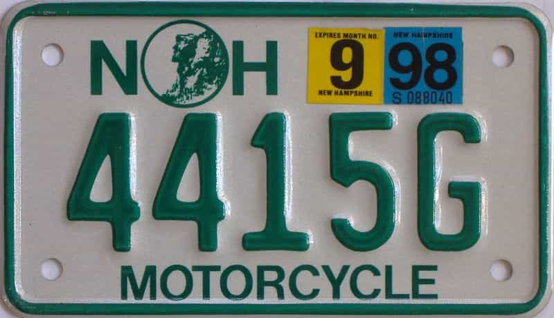 1998 New Hampshire  (Motorcycle) license plate for sale