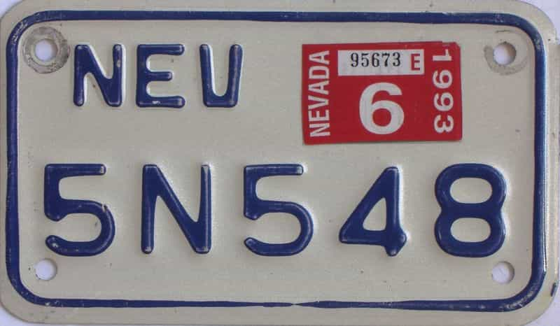 1993 Nevada (Motorcycle) license plate for sale