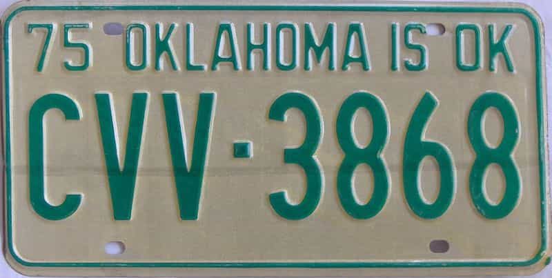 1975 OK license plate for sale