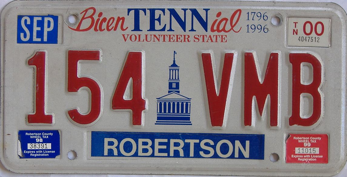 2000 Tennessee license plate for sale