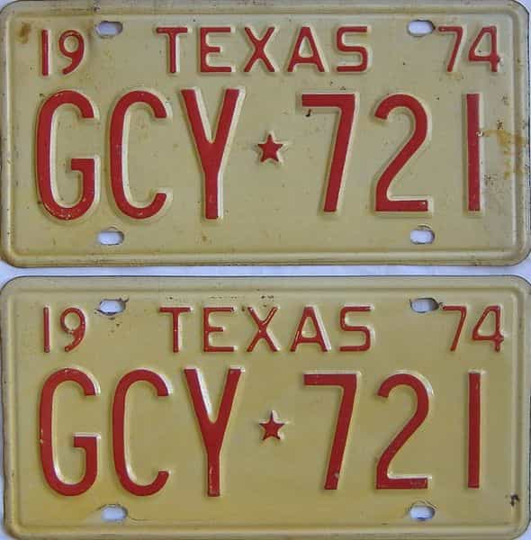 1974 TX (Pair) license plate for sale