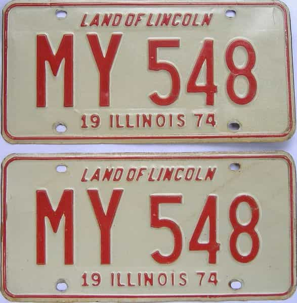 1974 Illinois (Pair) license plate for sale