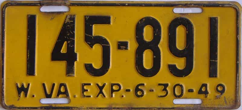1949 WV license plate for sale