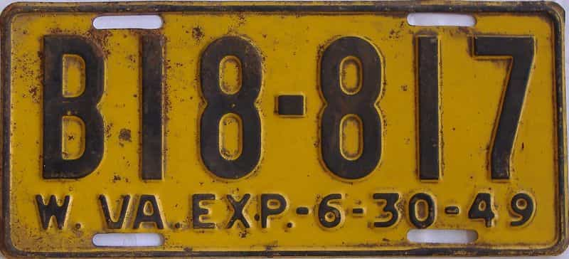 1949 West Virginia (Truck) license plate for sale
