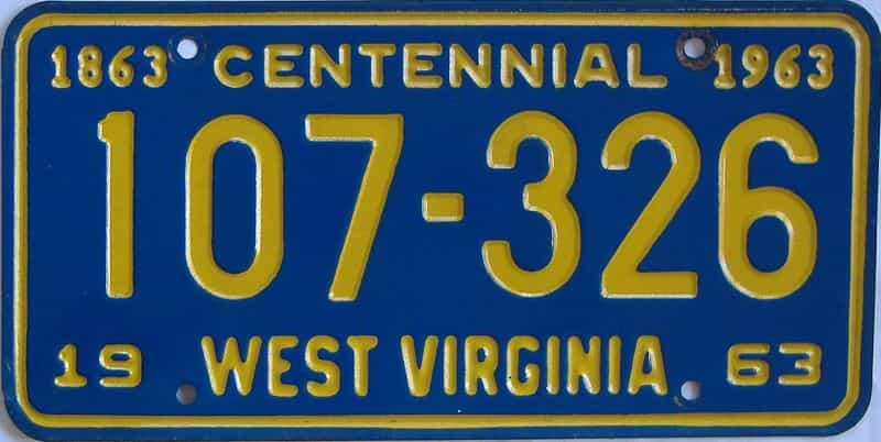 1963 WV license plate for sale