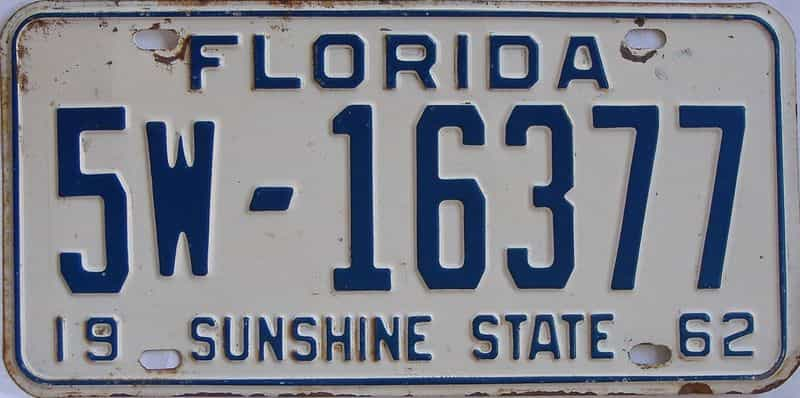 1962 FL license plate for sale