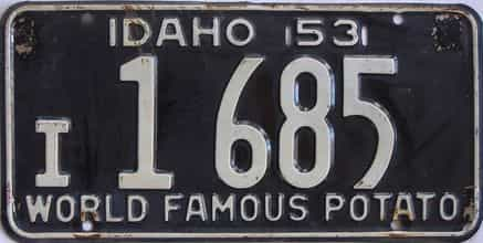 1953 Idaho (Single) license plate for sale