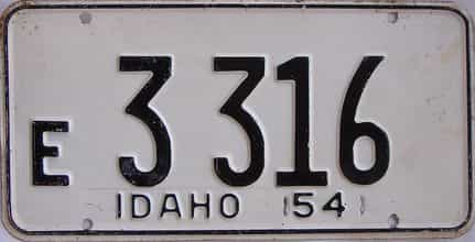 1954 Idaho  (Single) license plate for sale