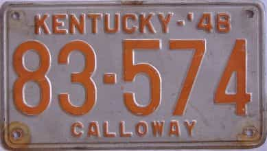 1948 Kentucky license plate for sale