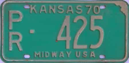 1970 Kansas license plate for sale