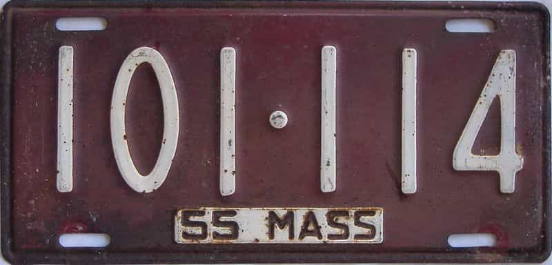 1955 MA (Single) license plate for sale