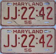 1956 Maryland (Pair) license plate for sale