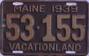 1939 Maine (Single) license plate for sale