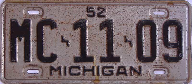 1952 MI license plate for sale