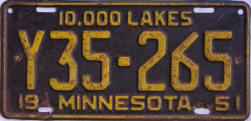 1951 MN (Truck) license plate for sale