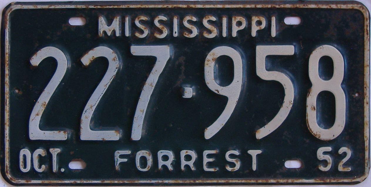 1952 Mississippi license plate for sale