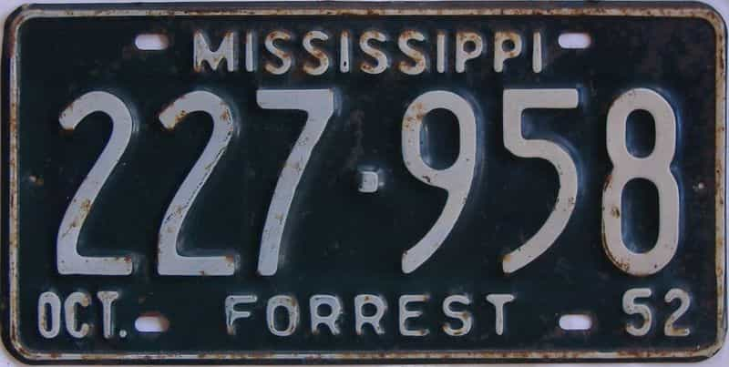 1952 Mississippi license plate for sale