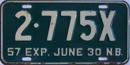 1957 New Brunswick (Single) license plate for sale