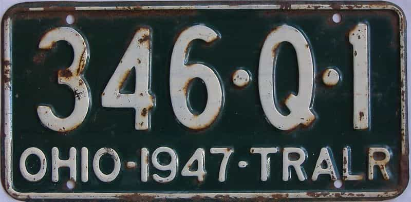 1947 OH (Trailer) license plate for sale