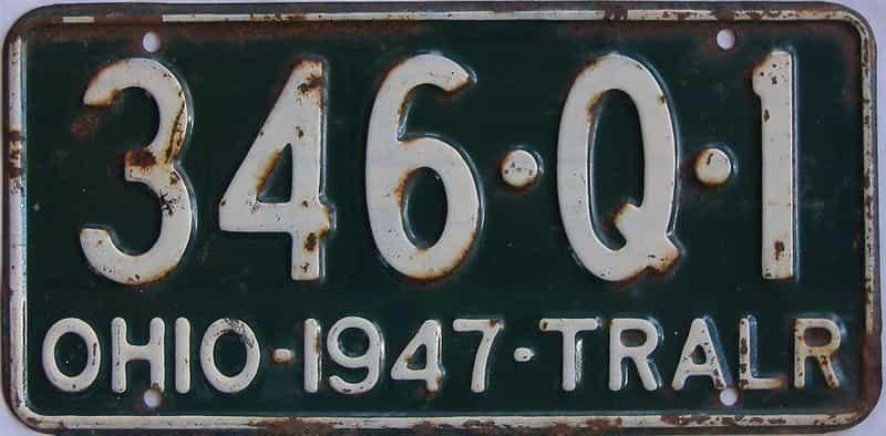 1947 Ohio  (Trailer) license plate for sale