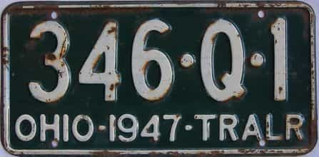 1947 Ohio  (Trailer) license plate for sale