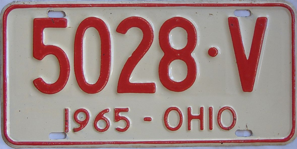 1965 Ohio (Single) license plate for sale