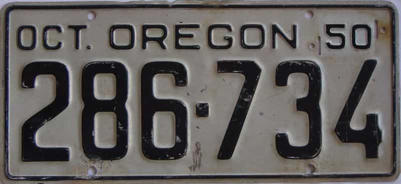 1950 Oregon (Single) license plate for sale
