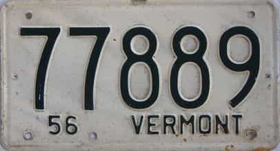1956 Vermont  (Single) license plate for sale