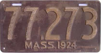 1924 Massachusetts (Single) license plate for sale