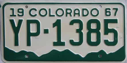 1967 Colorado (Single) license plate for sale