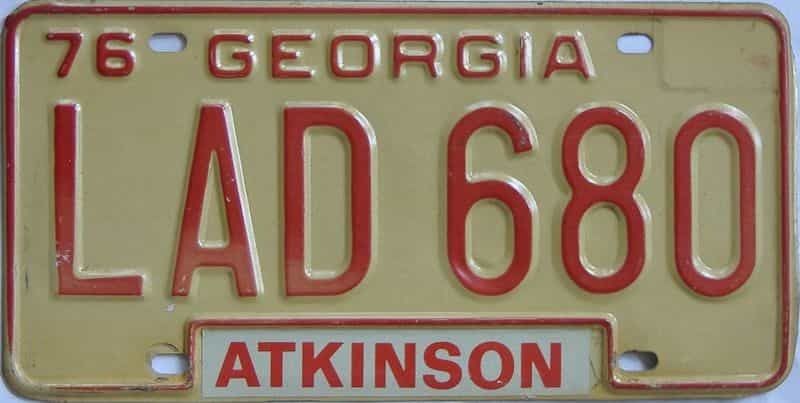 YOM 1976 Georgia license plate for sale