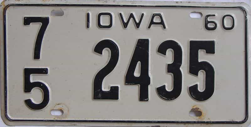 1960 Iowa (Single) license plate for sale
