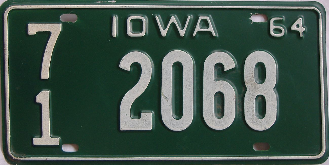 1964 Iowa (Single) license plate for sale