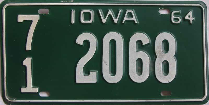 1964 IA (Single) license plate for sale