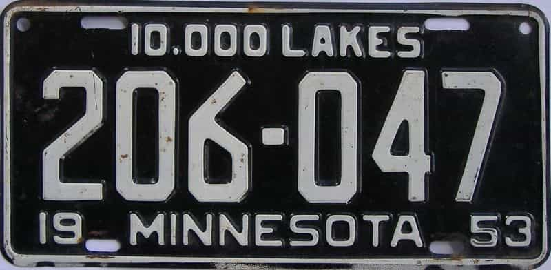 1953 MN (Single) license plate for sale