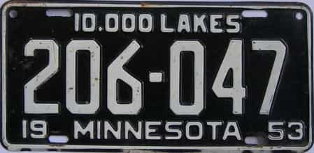 1953 Minnesota (Single) license plate for sale