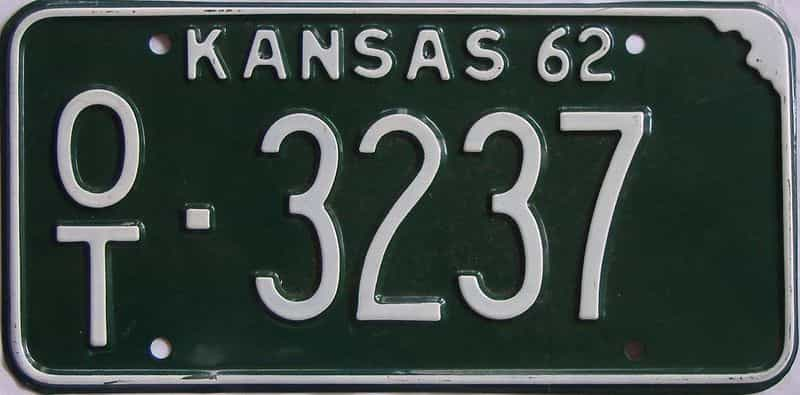 1962 Kansas license plate for sale