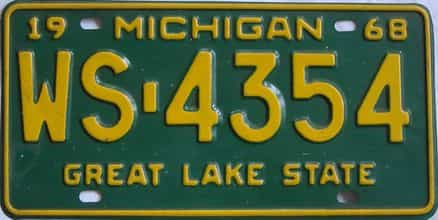1968 Michigan (Single) license plate for sale