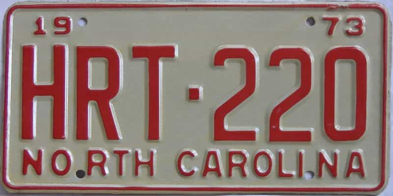 1973 North Carolina license plate for sale