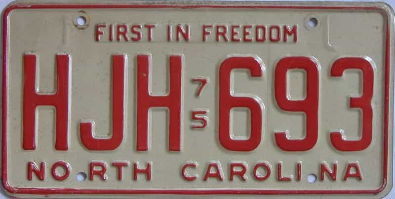 1975 North Carolina license plate for sale
