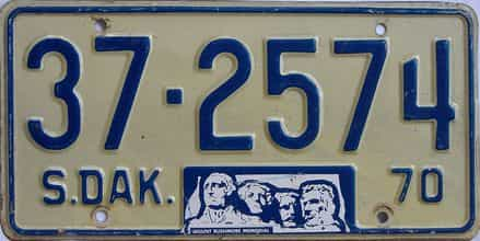 1970 South Dakota (Single) license plate for sale