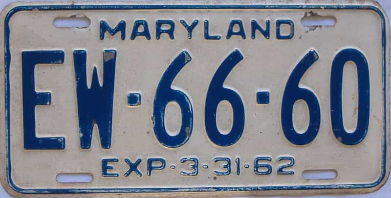 1962 MD (Single) license plate for sale