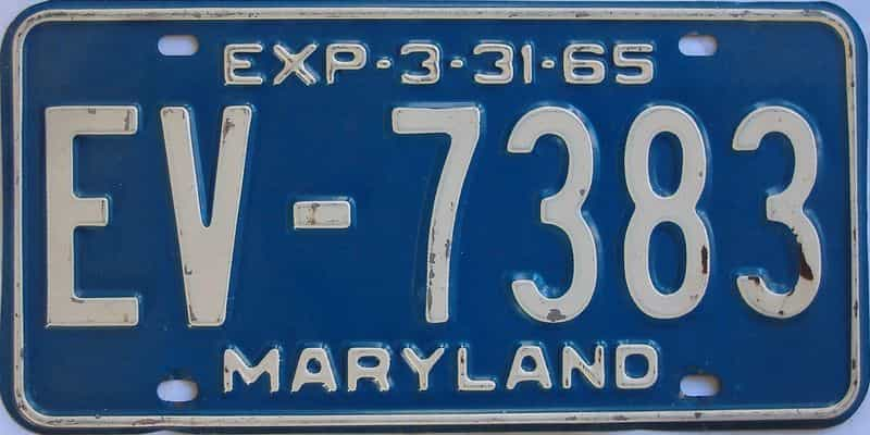 1965 MD (Single) license plate for sale