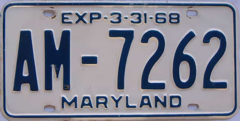 1968 MD (Single) license plate for sale