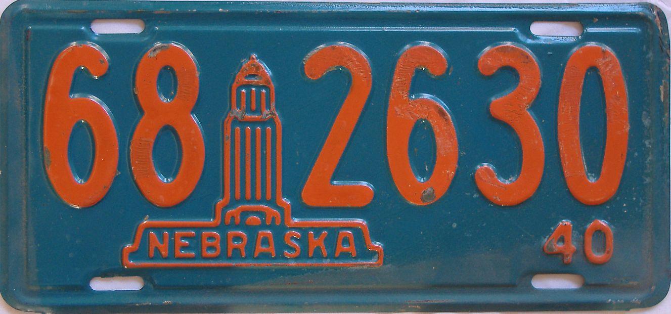 1940 Nebraska (Single) license plate for sale