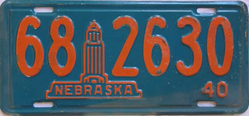 1940 NE (Single) license plate for sale