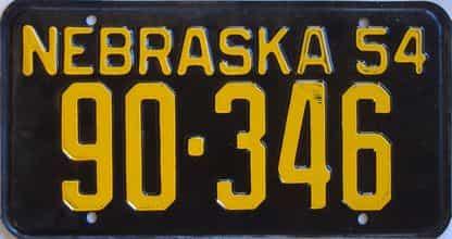 1954 Nebraska (Single) license plate for sale