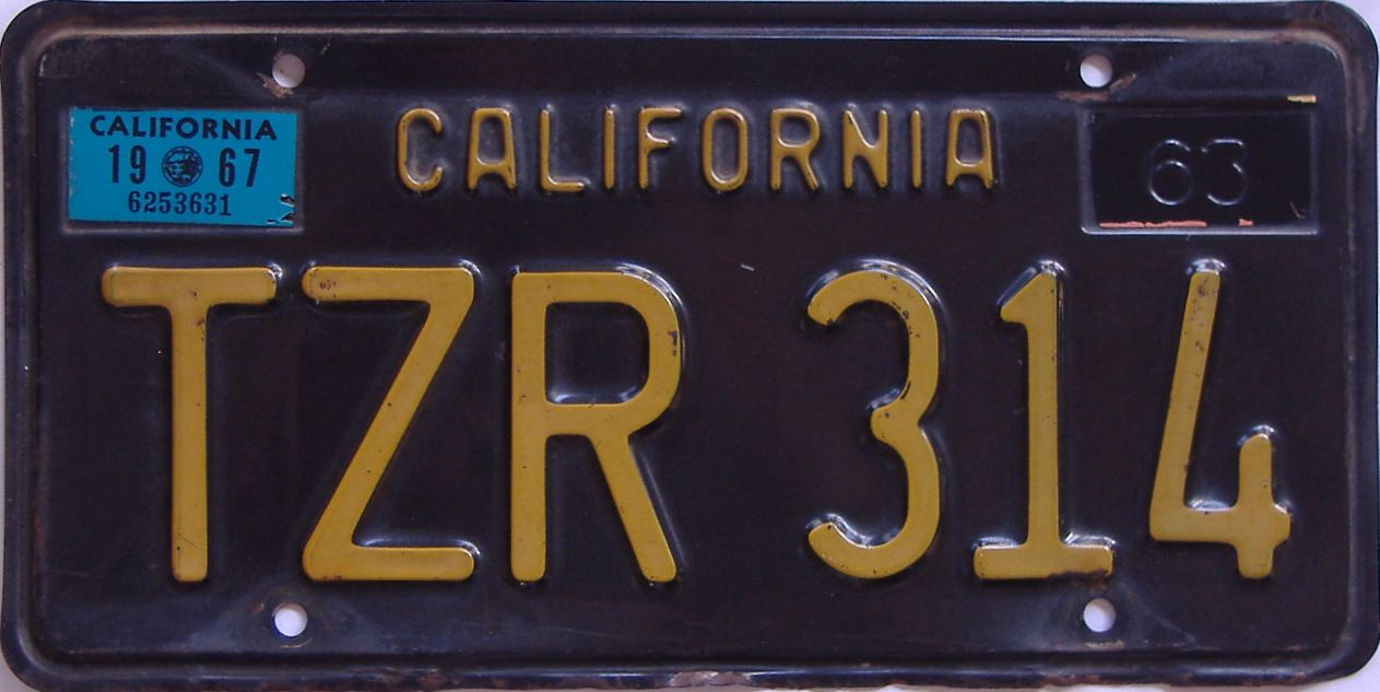 1967 California (Single) license plate for sale
